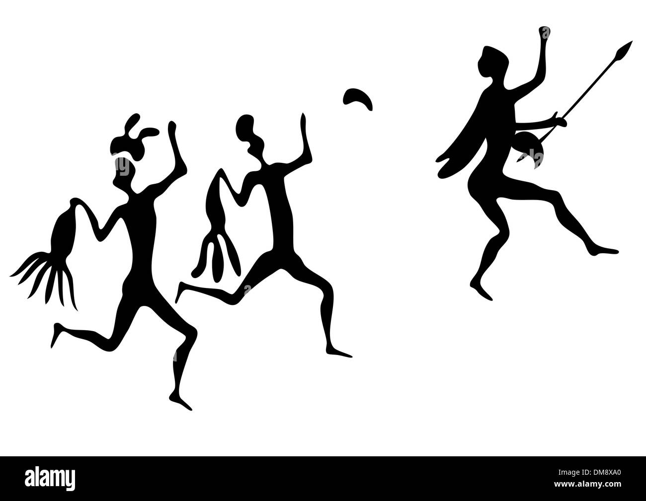 primitive art - various figures - vector - Stock Image