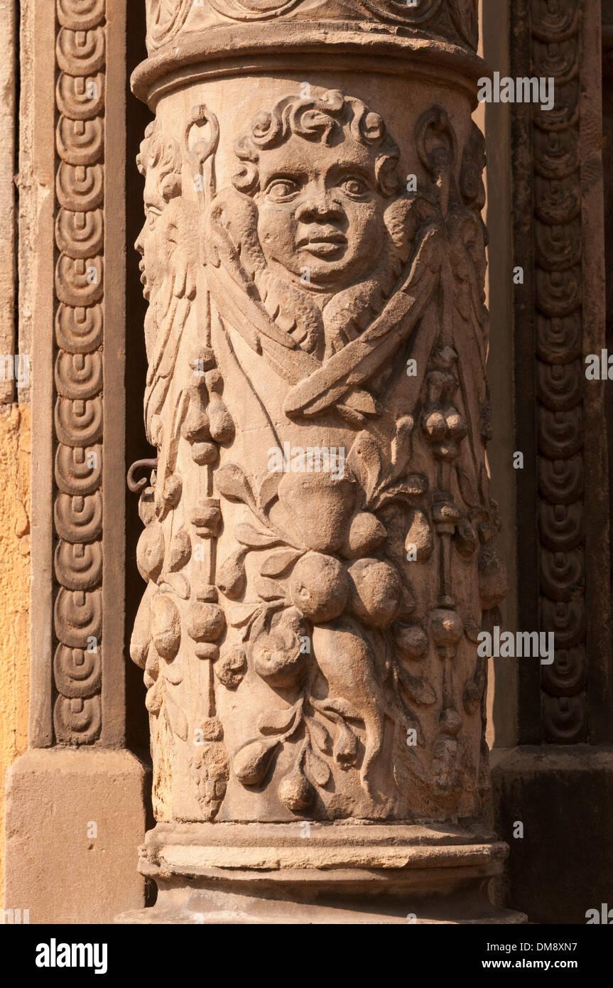 Elk213-2684v France, Alsace, Colmar, column figure - Stock Image