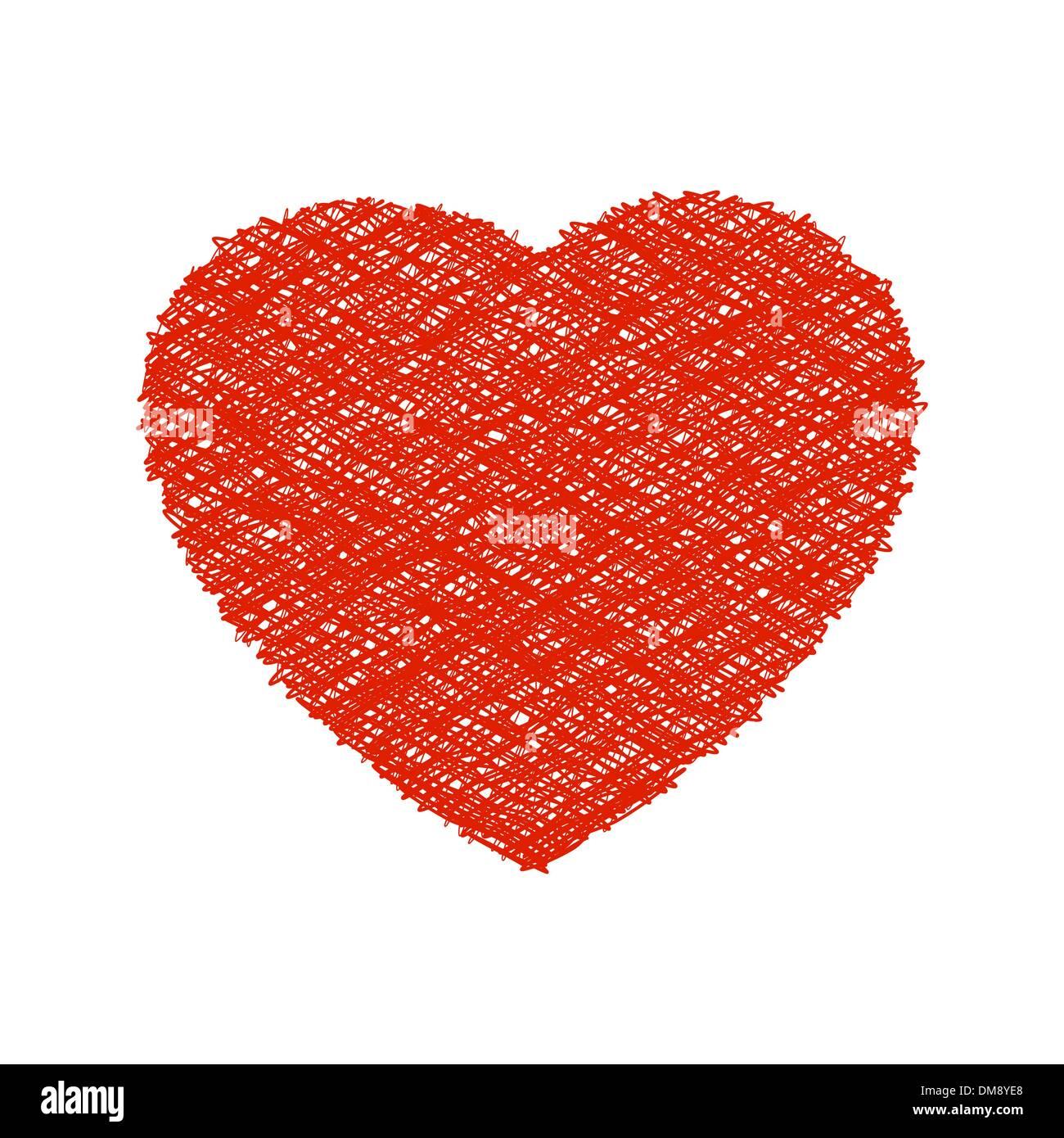 Weaving red heart. EPS 8 - Stock Vector