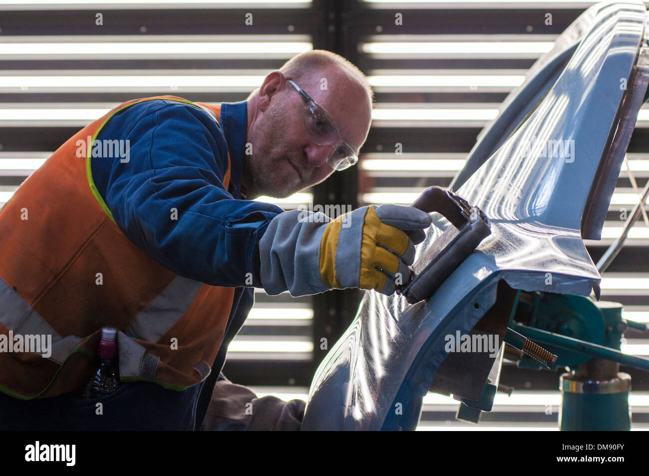 Quality control on the assembly line at General Motors Holden plant in Elizabeth, South Australia Stock Photo