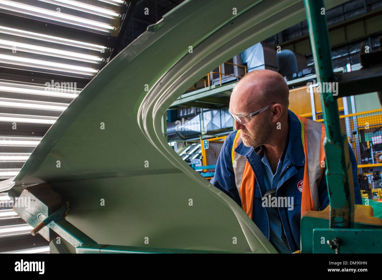 Quality control on the assembly line at General Motors Holden plant in Elizabeth, South Australia - Stock Image