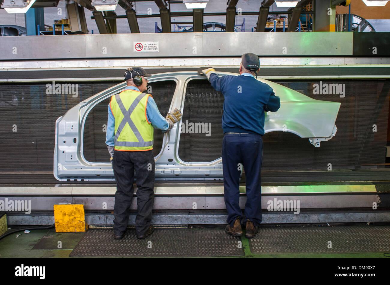 Production lines in General Motors Holden Elizabeth plant in South Australia - Stock Image