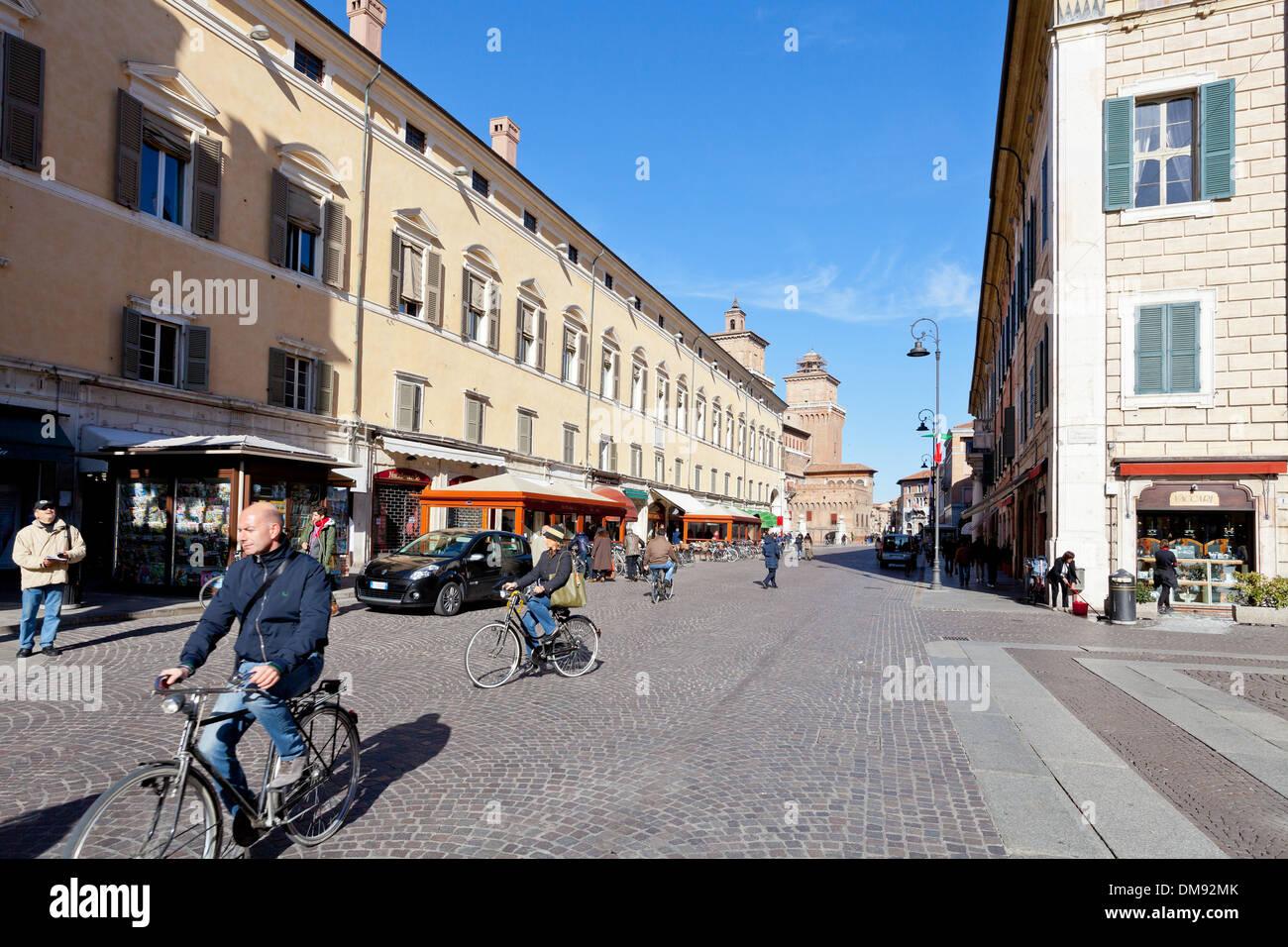 panorama of Corso Martiri della Liberta in Ferrara, Italy - Stock Image