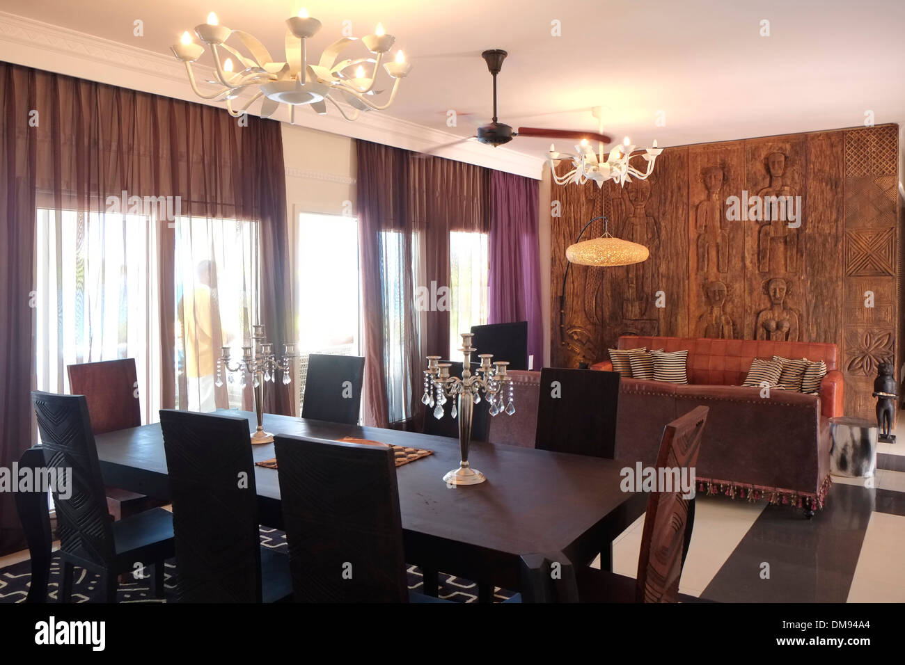 The Presidential Suite in Hideaway of Nungwi Resort hotel on the north-west coast of Zanzibar island a semi-autonomous part of Tanzania, in East Africa - Stock Image