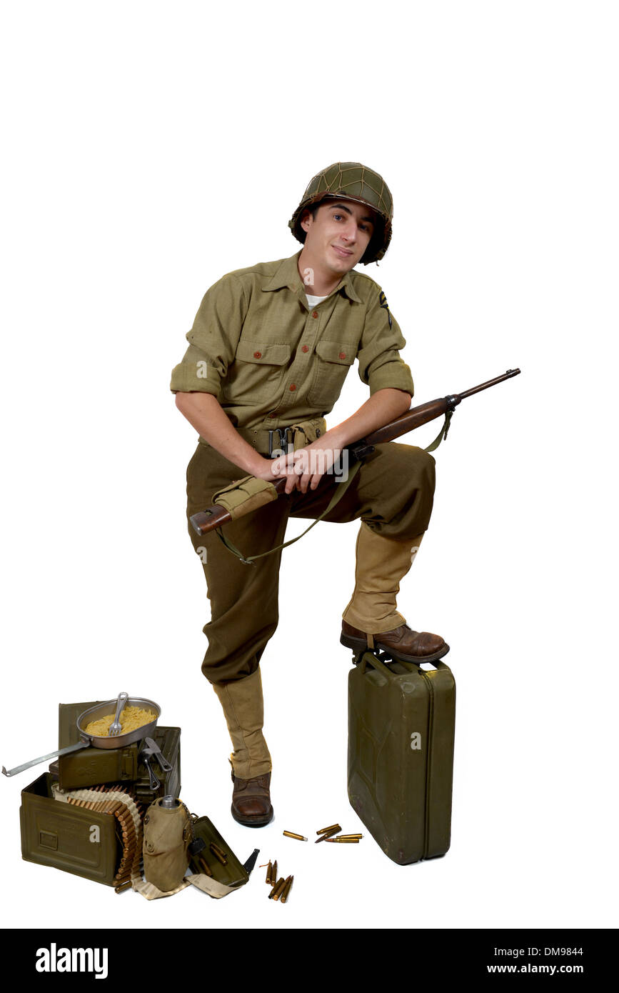 American soldier with his carbine M1 and M1 helmet - Stock Image