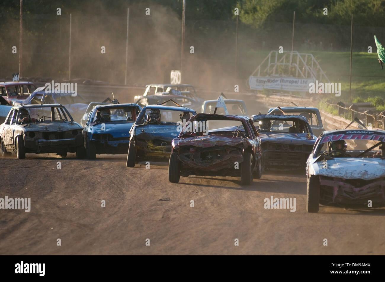 stock car cars racing race races banger bangers old junk scrap track ...