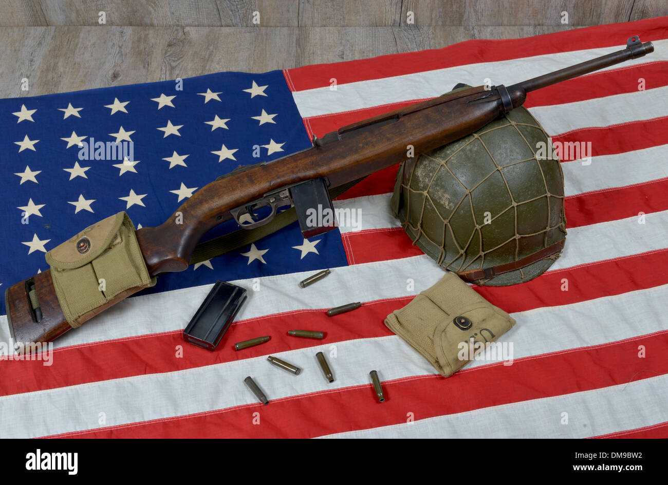 carbine usm1 with some bullets and military helmet - Stock Image
