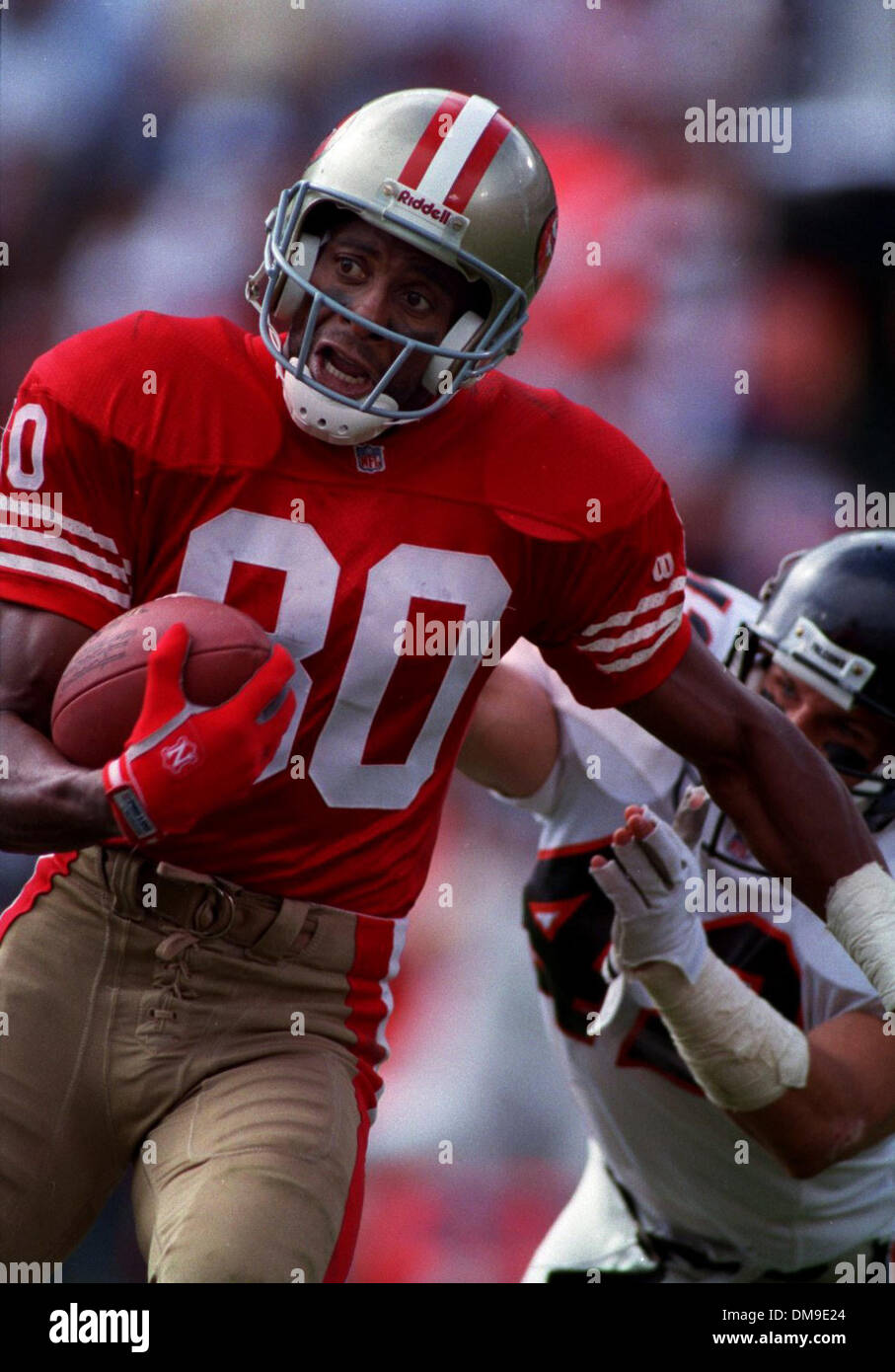 Jerry Rice San Francisco 49ers Wide Reciever Runs And Pass Rom Steve Stock Photo Alamy