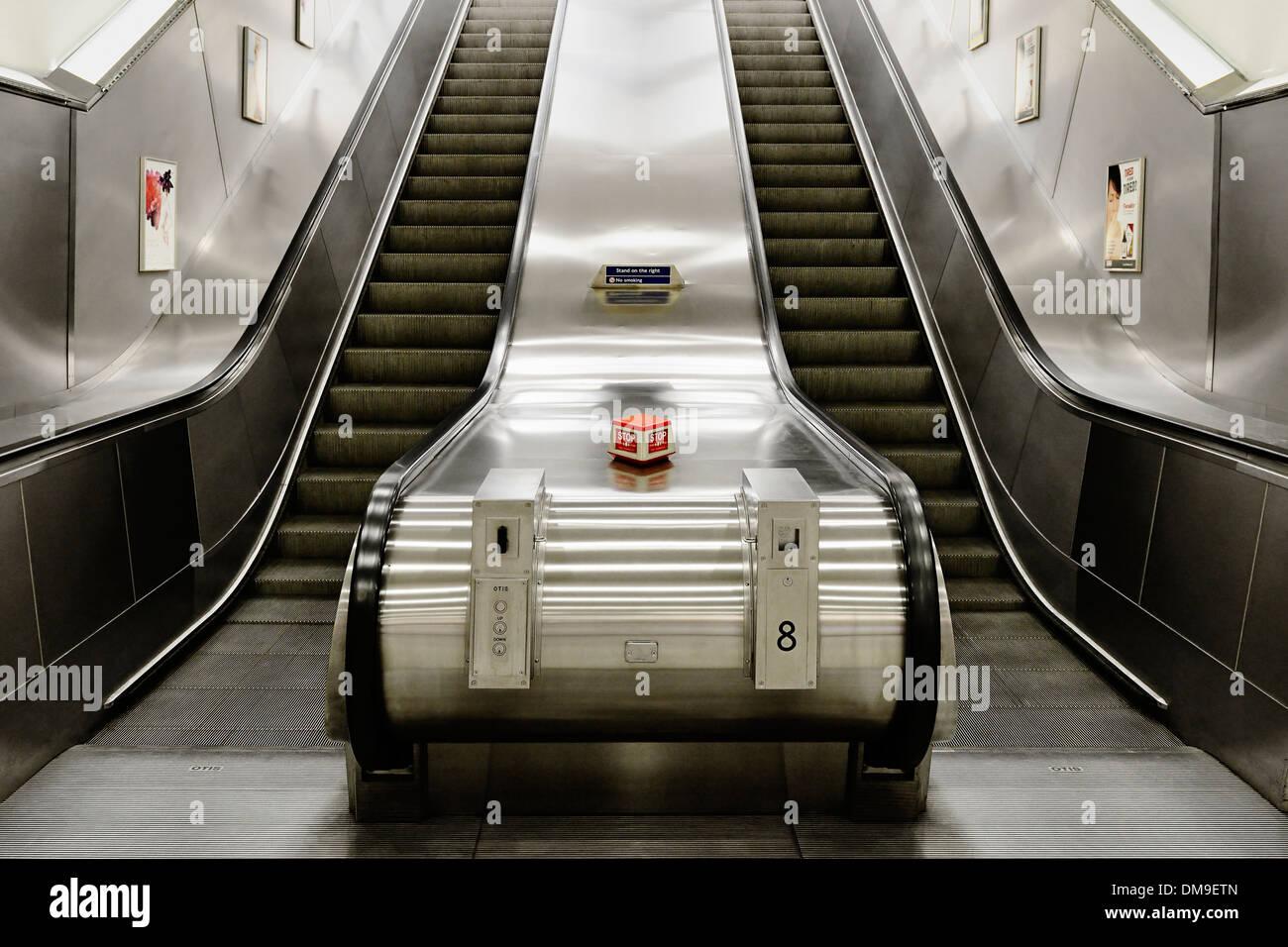 Escalator in an Underground Station, London, UK. - Stock Image