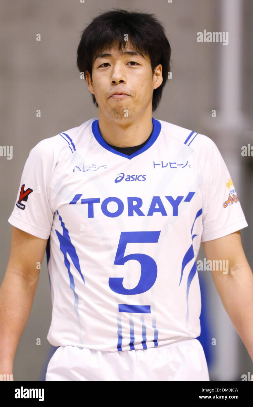 Yuta Yoneyama (Arrows), DECEMBER 12 , 2013 - Volleyball : 2013 Emperor's Cup and Empress's Cup All Japan Volleyball Championship men's match between Toray Arrows 3-1 Toa-Univ at Tokyo Metropolitan Gymnasium, Tokyo, Japan. - Stock Image