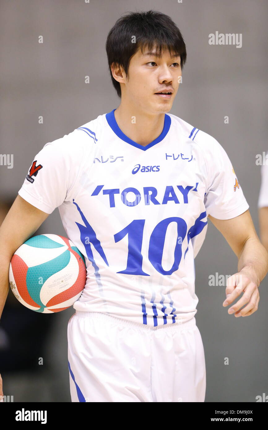 Hidetomo Hoshino (Arrows), DECEMBER 12 , 2013 - Volleyball : 2013 Emperor's Cup and Empress's Cup All Japan Volleyball Championship men's match between Toray Arrows 3-1 Toa-Univ at Tokyo Metropolitan Gymnasium, Tokyo, Japan. - Stock Image