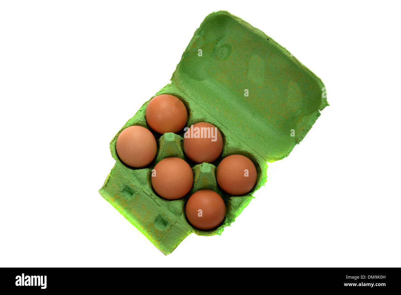 six eggs in protective box - Stock Image