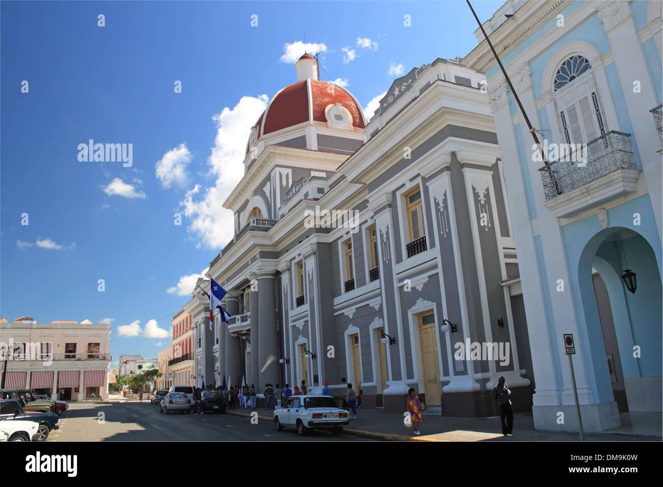 Antiguo Ayuntamiento, Parque José Martí, Cienfuegos, Cienfuegos province, Cuba, Caribbean Sea, Central America - Stock Image