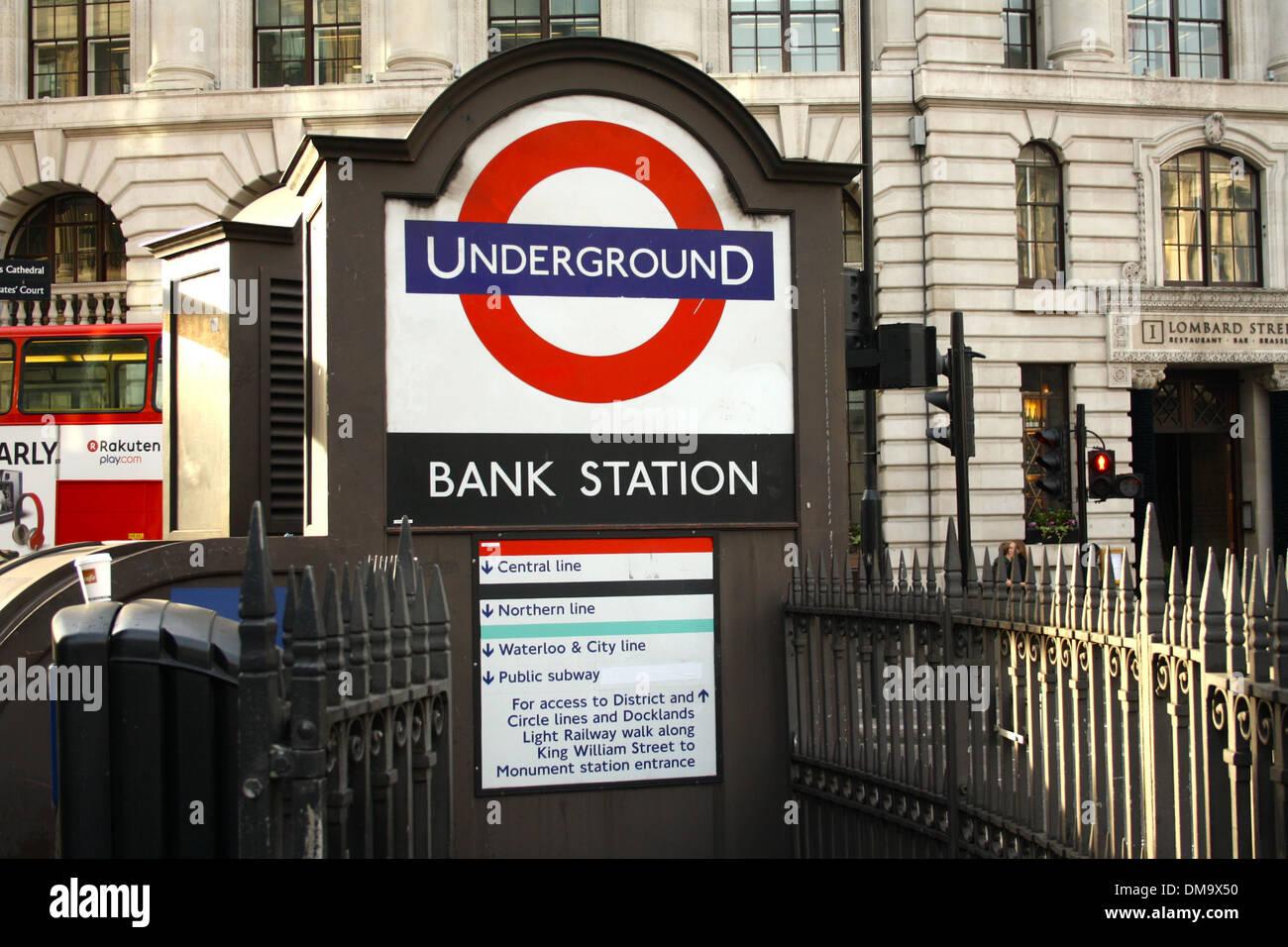 Bank tube station, London UK - Stock Image