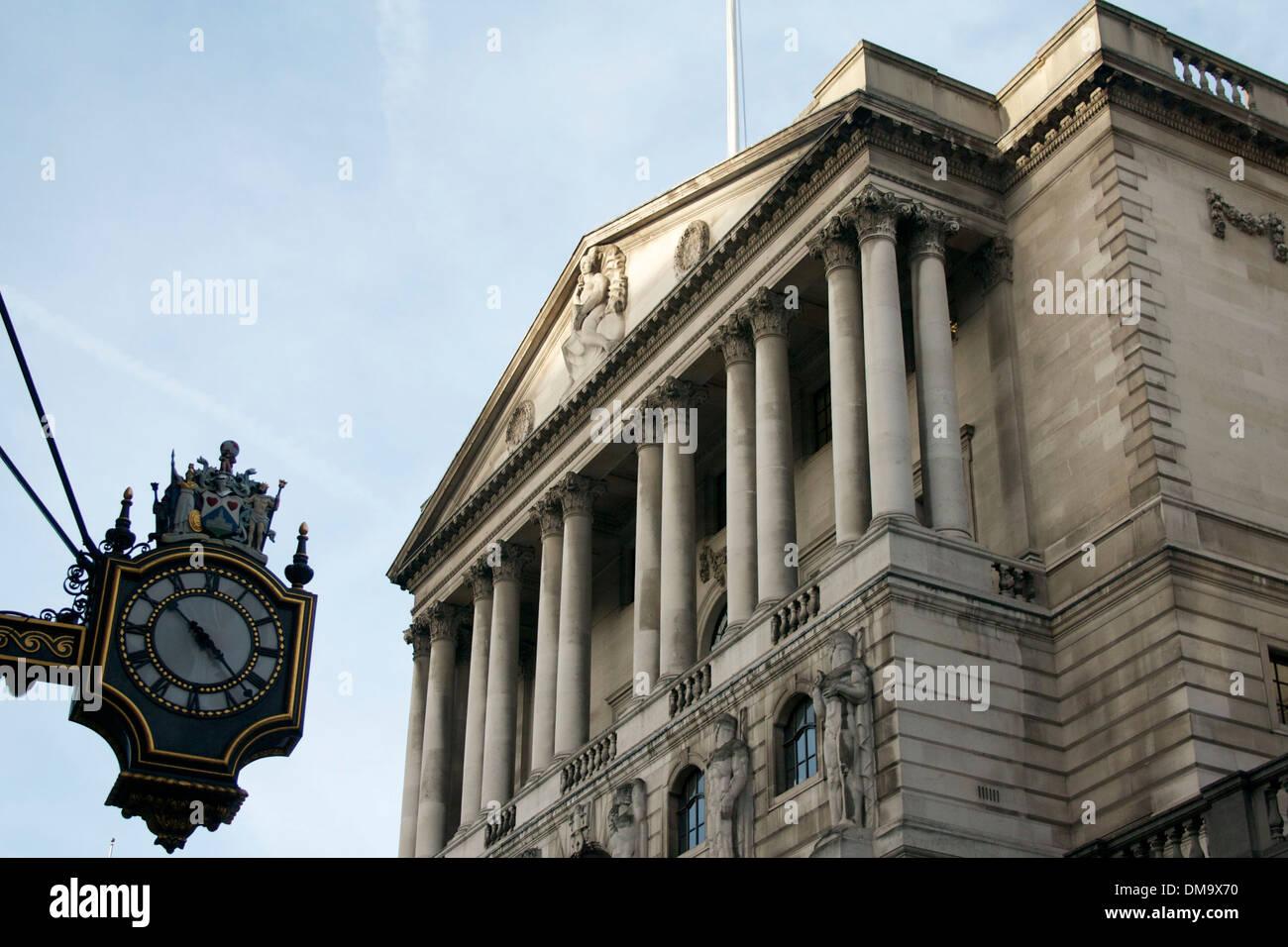 Bank of England with clock, London, UK - Stock Image