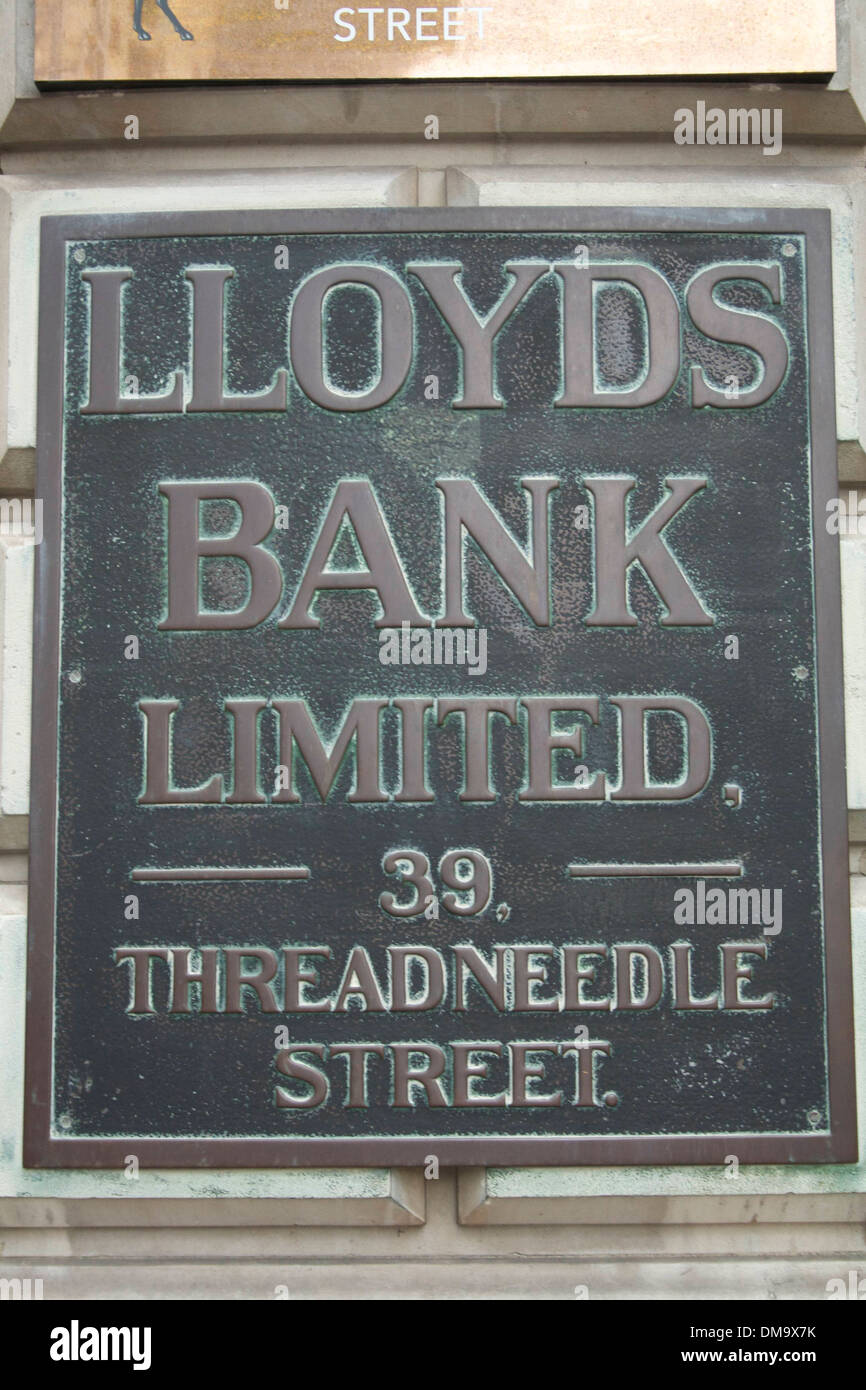 Lloyds Bank sign, Threadneedle Street, London, UK - Stock Image