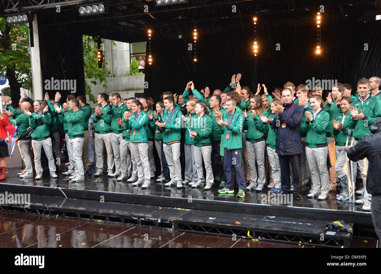 Irish 2012 Olympic Team A civic reception is held for Irish Olympic Team on Dawson Street to celebrate their efforts Stock Photo