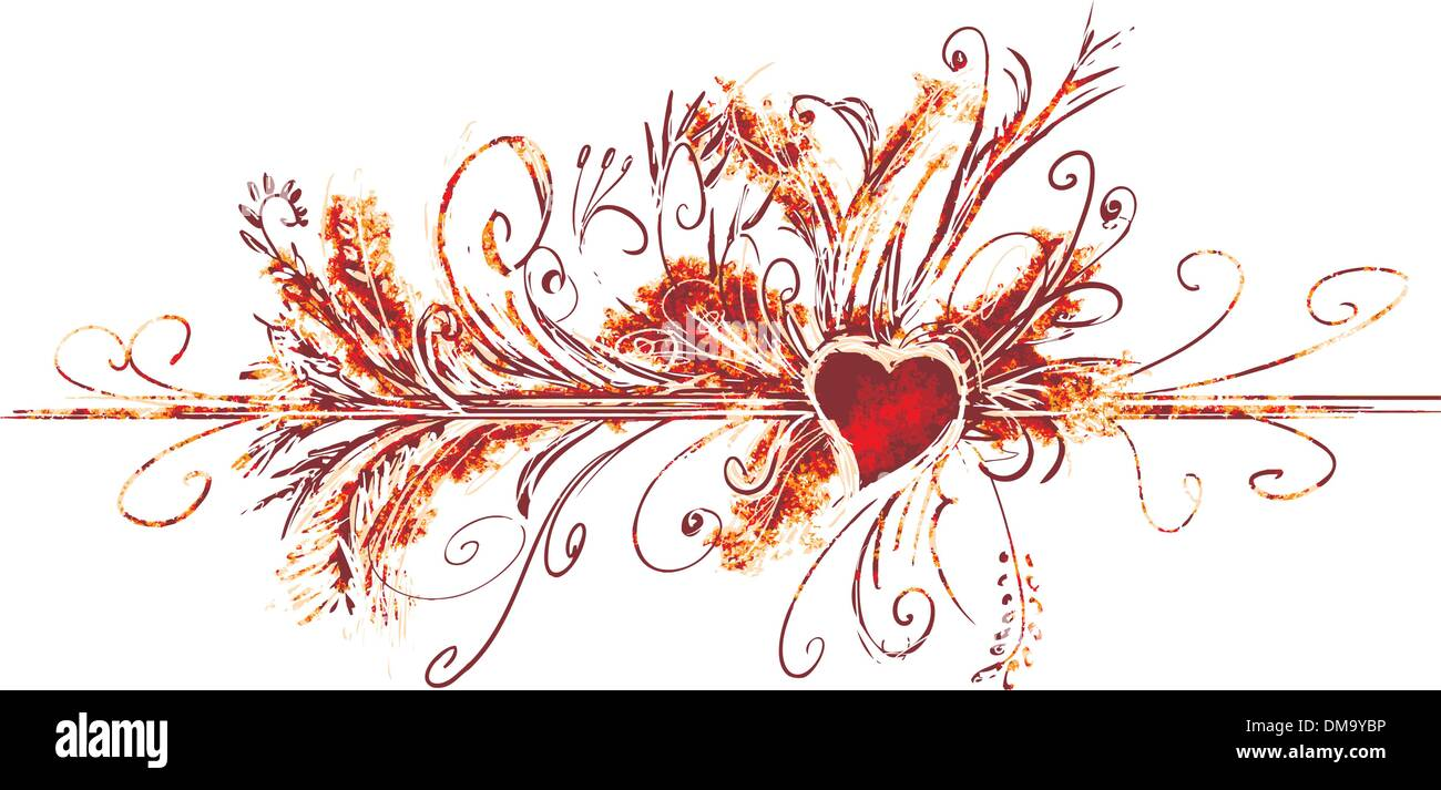 Big valentine flourish - Stock Image