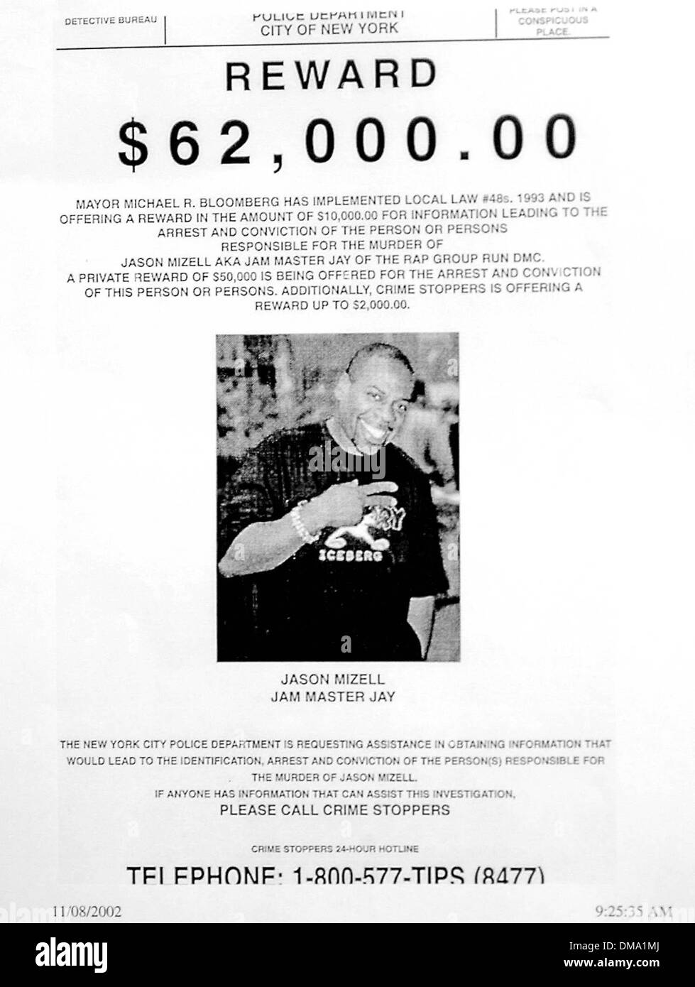 Nov. 8, 2002 - Nyc, NY, USA - 11/8/02_New York_NYC Police issued a Reward of 2,000 thousand dollars for information in the killing of Hip-Hop star Jason Mizell known as ''Jam Master Jay'' of the rap group Run DMC.. Neil Schneider/   2002.k27117ns.(Credit Image: © Globe Photos/ZUMAPRESS.com) - Stock Image