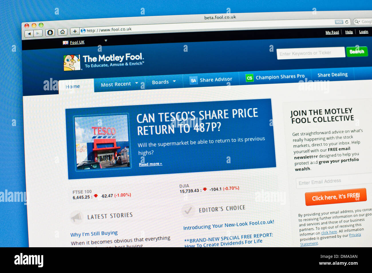 Motley Fool online financial investment website - Stock Image