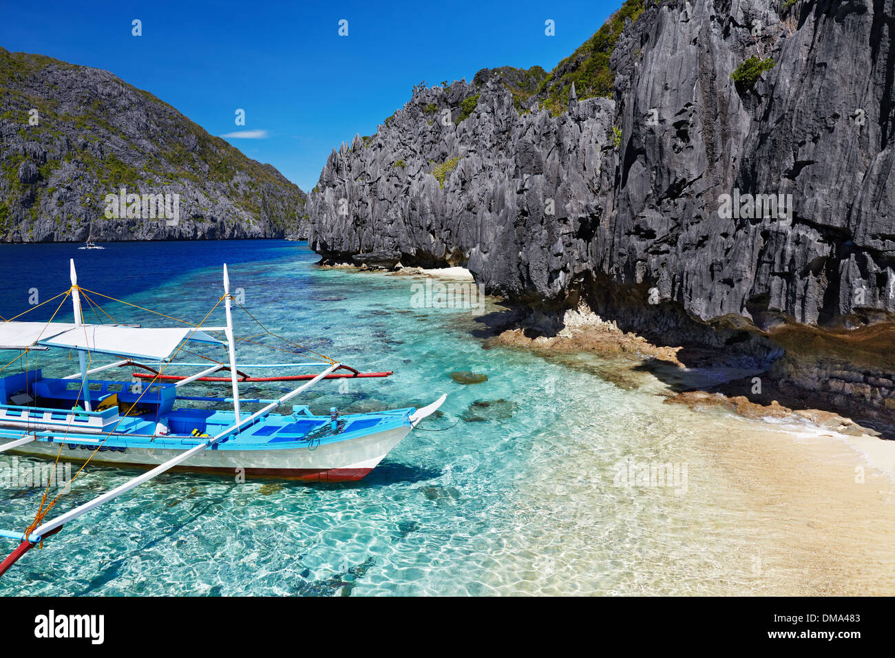 Tropical beach, South China See, El-Nido, Philippines - Stock Image