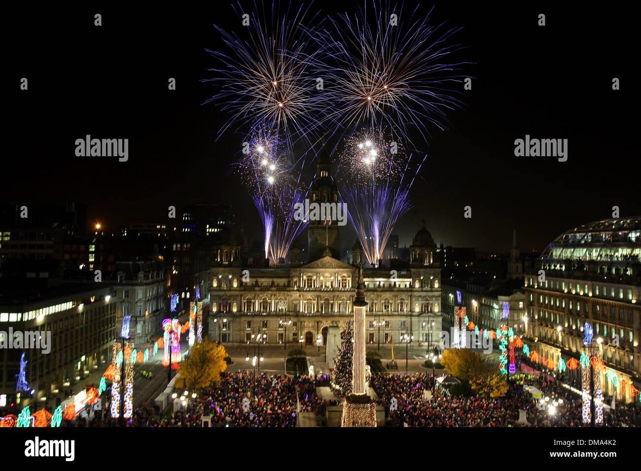 Fireworks over The People's Palace and Winter Gardens in Glasgow Green, Scotland - Stock Image
