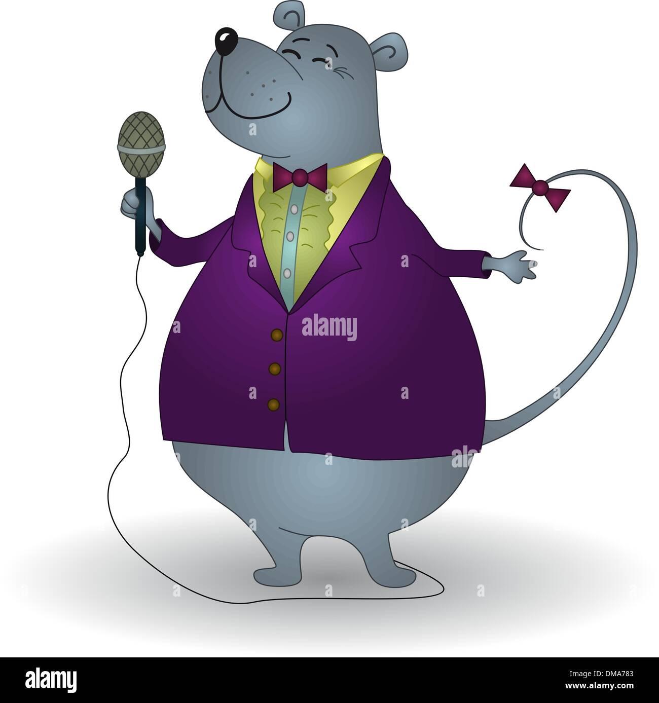 Rat singer - Stock Vector