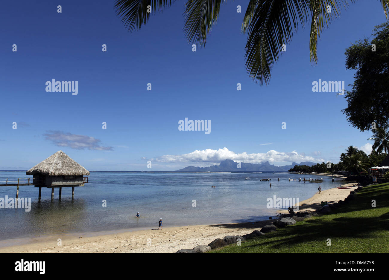French Polynesia Tahiti Beach And Lagoon In Front Of