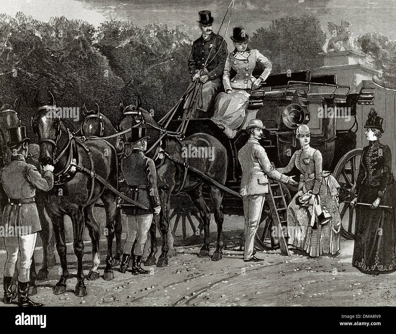 Bourgeois family goodbye. Engraving by Haroyle, 1892. - Stock Image
