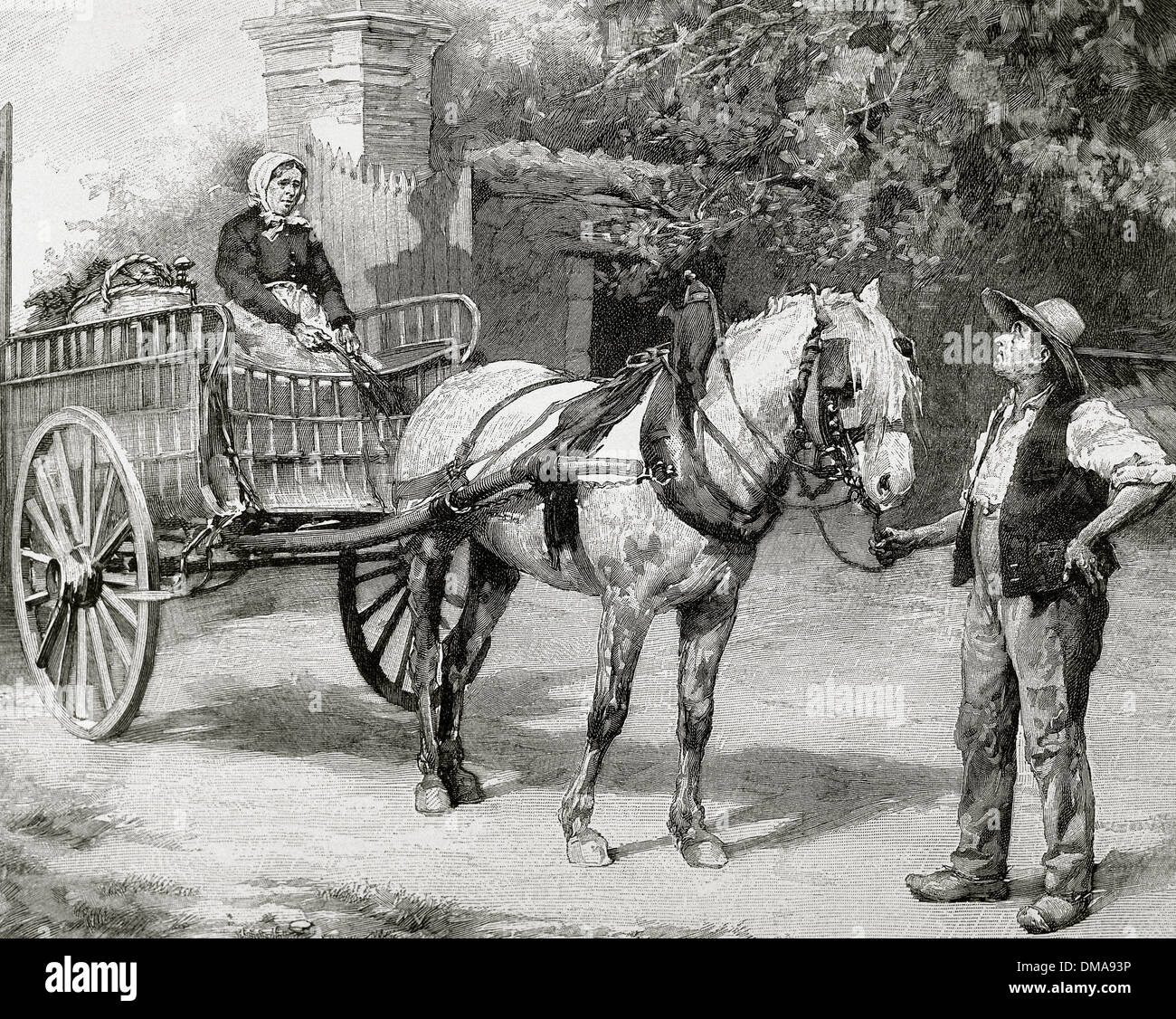 Peasant family with a chariot. Engraving by Huyot, 1880. - Stock Image