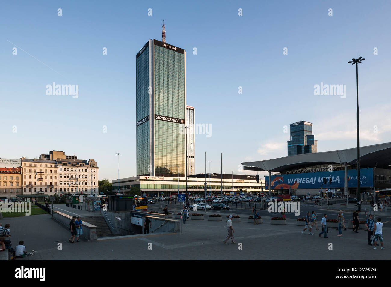 Warsaw Cityscape, Warsaw, Poland. Architect: Various, 2013. Distant view to Marriott Hotel tower with Central Train Stock Photo