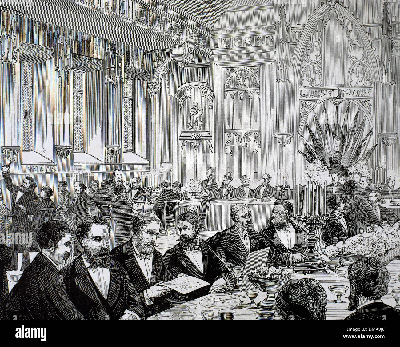 Belgium. Brussels. Banquet given in the Town Hall. National Committee of the National Exhibition. of various countries. - Stock Image