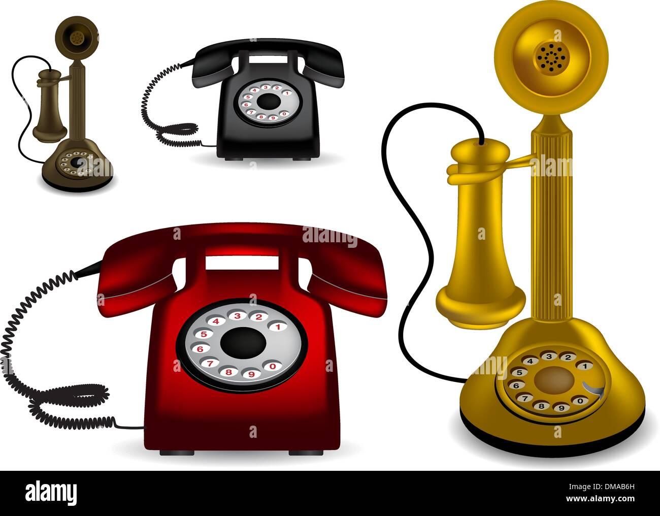 Retro telephone - vector illustration - Stock Image