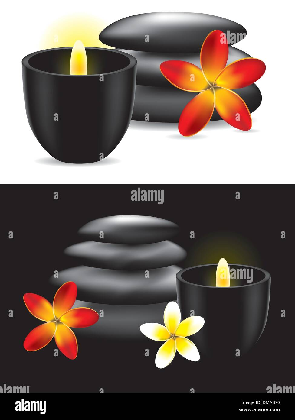 Spa hot stones, flower and candle - vector ilustration - Stock Image