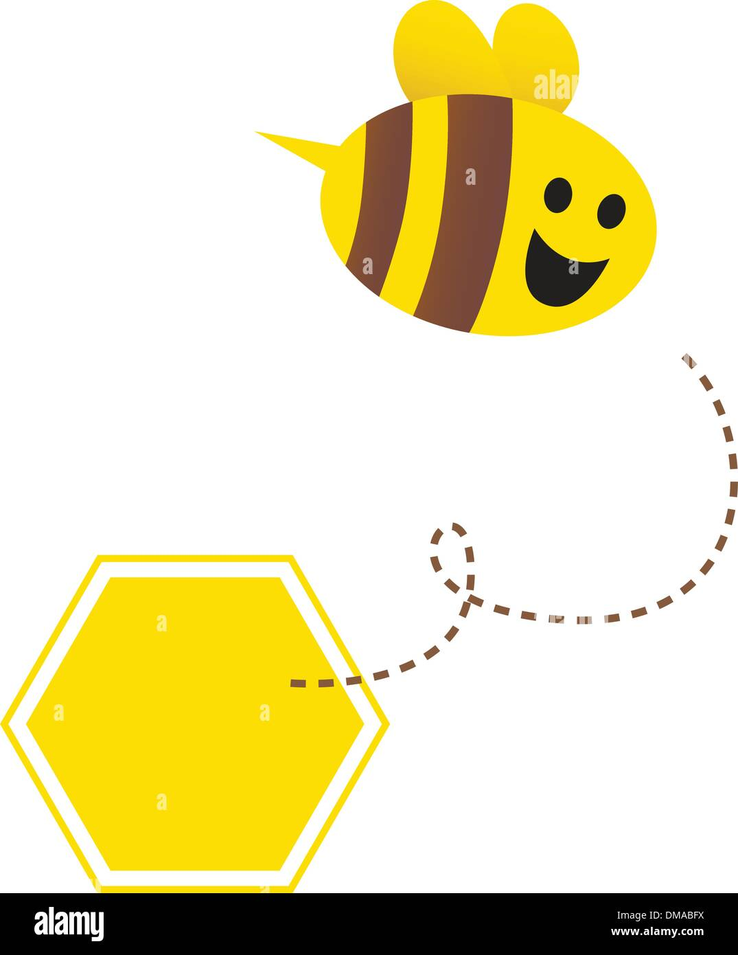 Little flying honey bee ( with yellow and brown stripes ) - Stock Vector