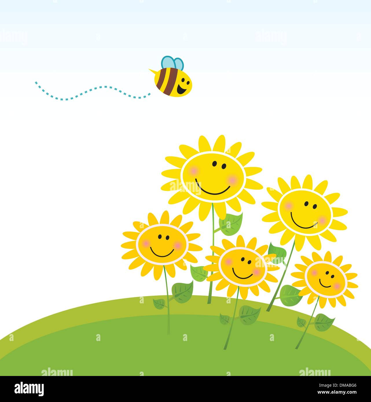 Cute yellow honey bee with group of flowers - Stock Vector