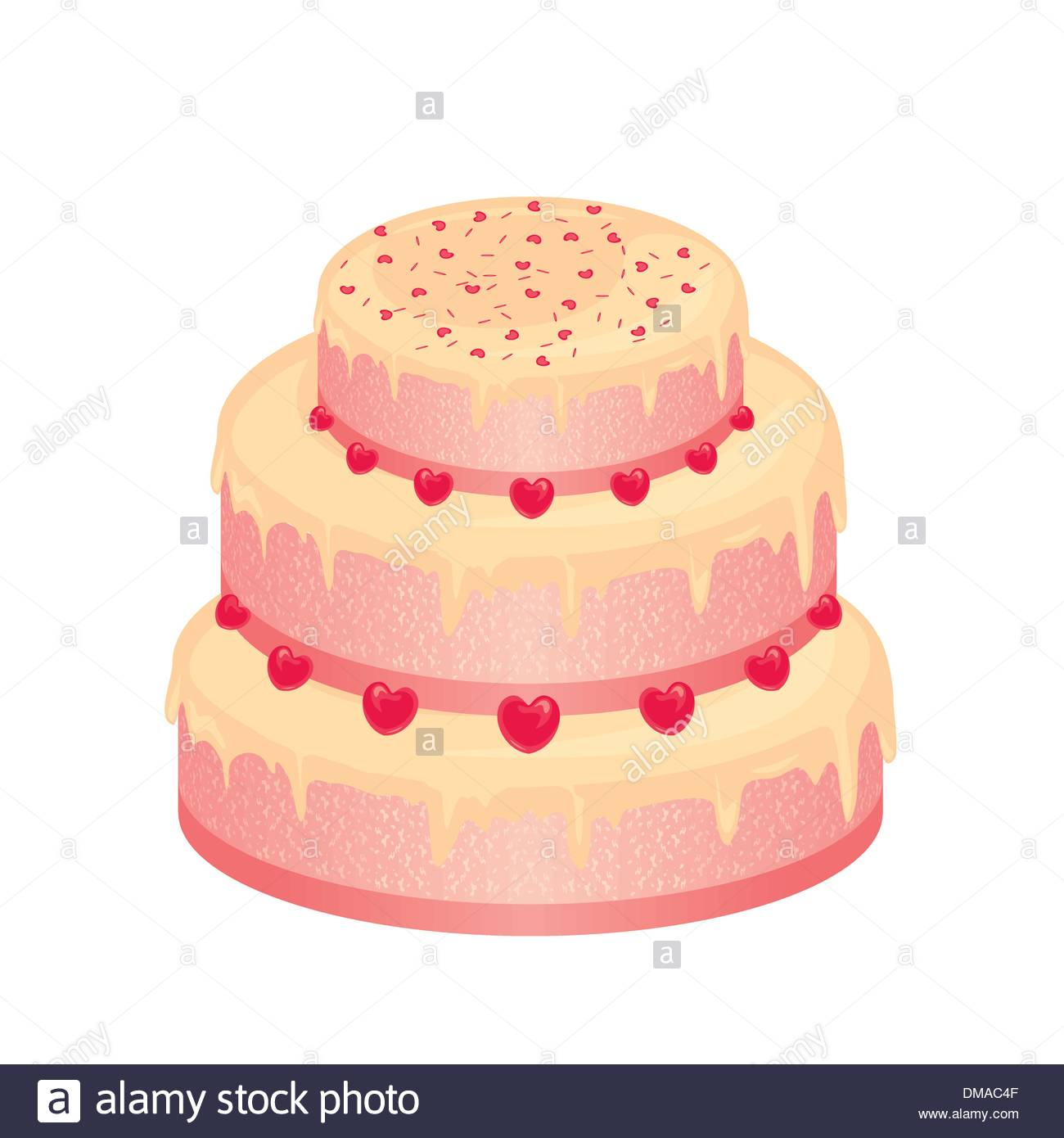 sweet pink wedding cake Stock Vector Art & Illustration, Vector ...