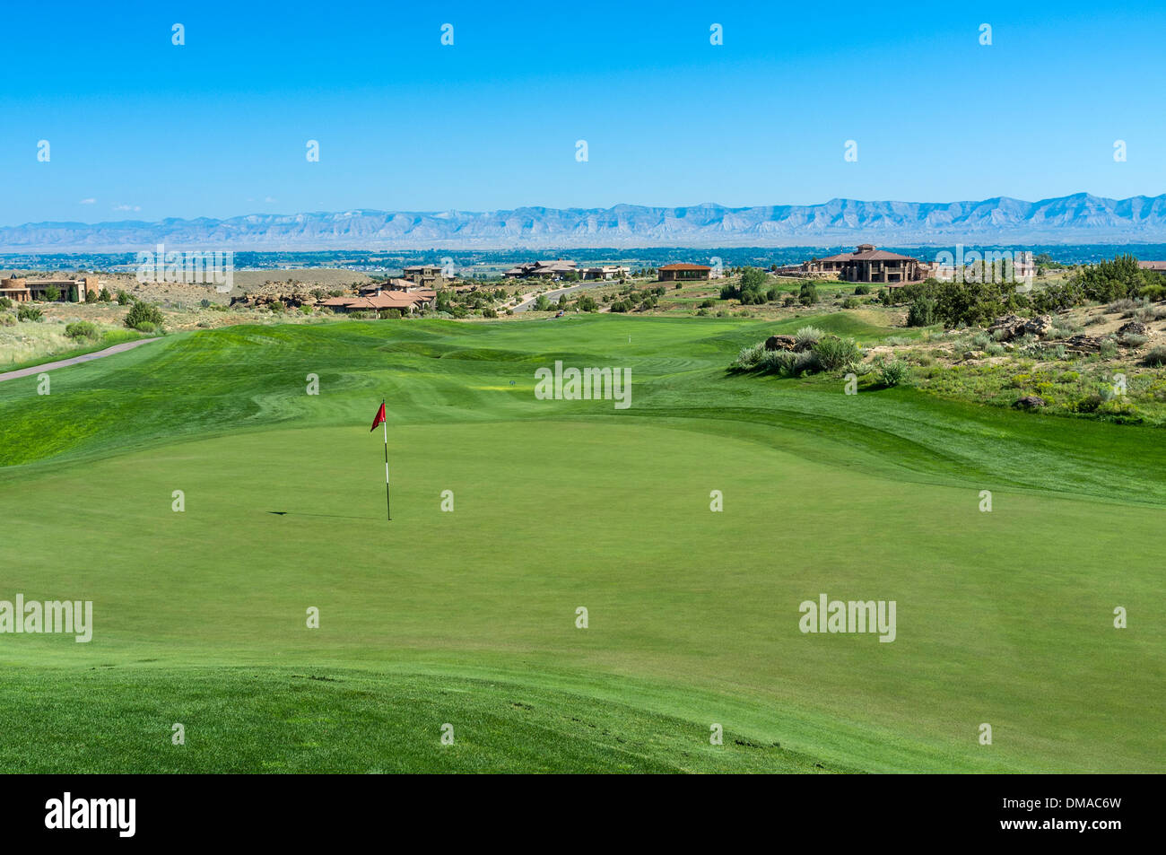 First green and fairway at Redlands Mesa Golf Club, Grand Junction, Colorado, USA - Stock Image