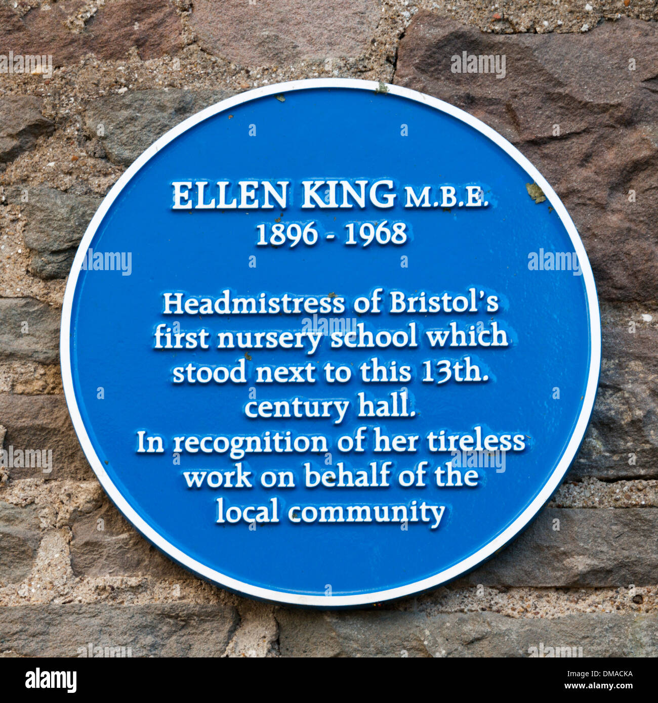 A blue plaque commemorates Ellen King MBE, the headmistress of Bristol's first nursery school, - Stock Image