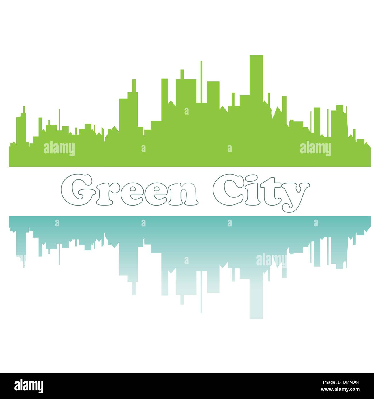 Green city sketch. Vector illustration - Stock Image