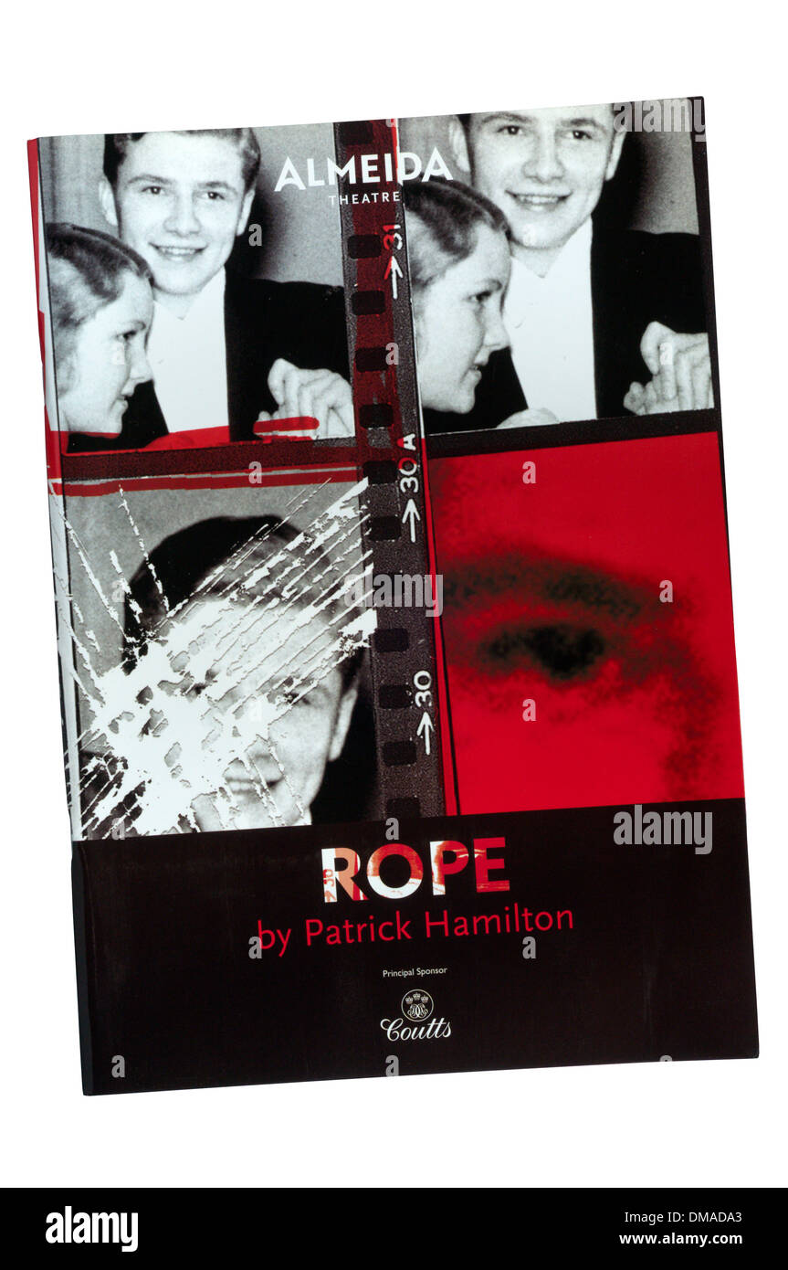 Programme for the 2009 production of Rope by Patrick Hamilton at the Almeida. - Stock Image