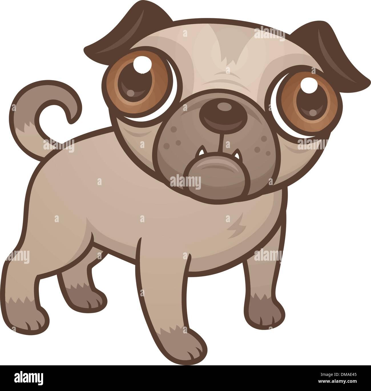 Pug Puppy Cartoon Stock Vector