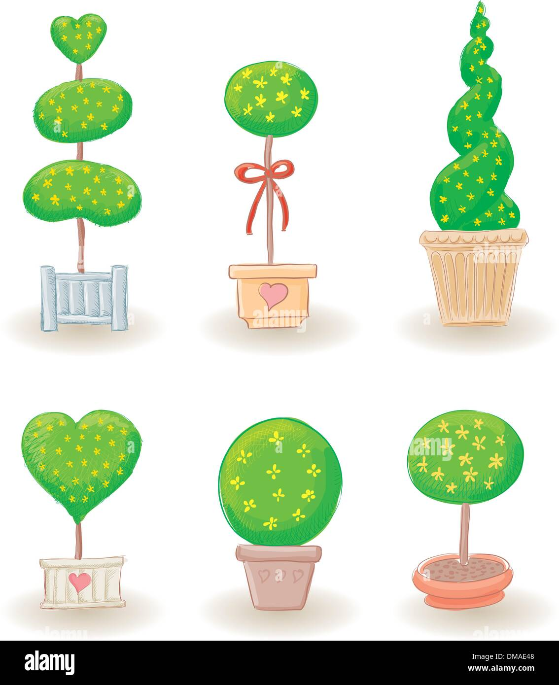 Garden Trees   Set 2   Stock Image