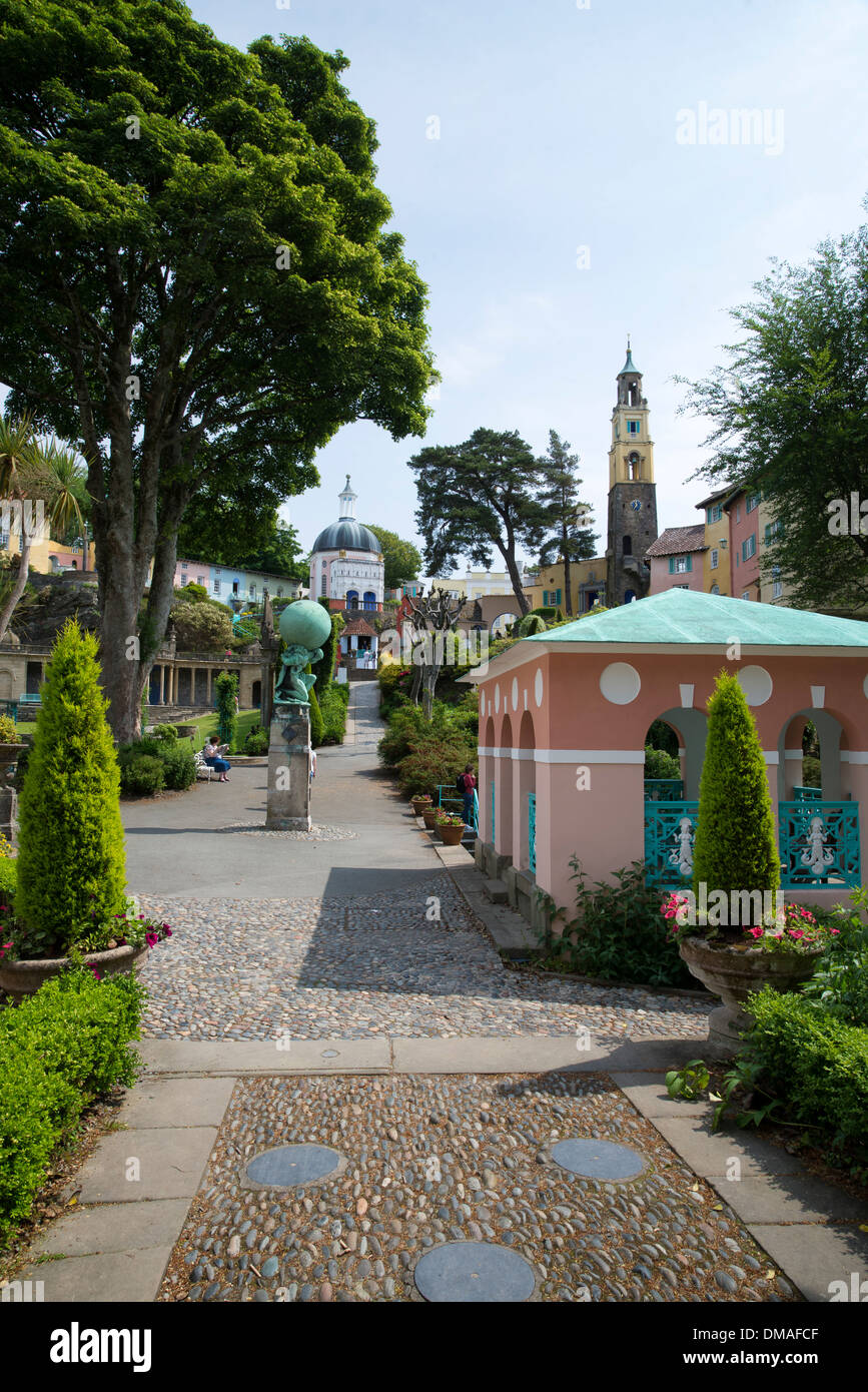 Portmeirion village Italian styled design in North Wales. Stock Photo