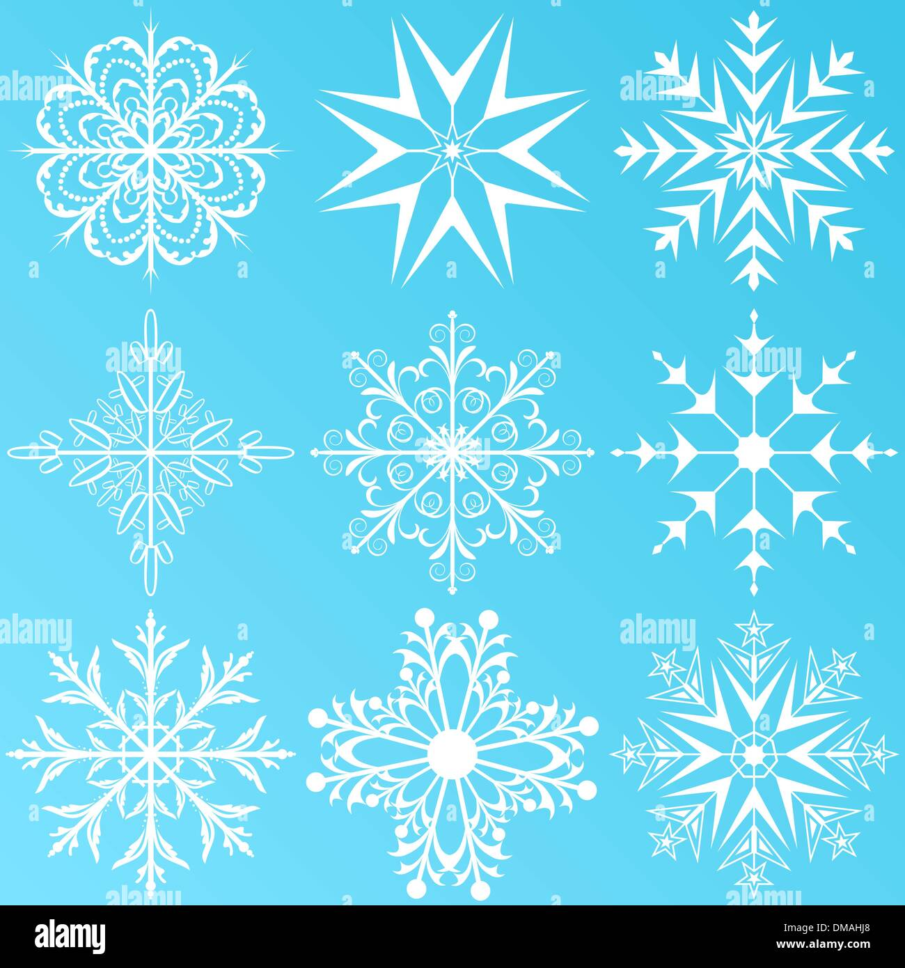 set variation snowflakes isolated - Stock Image