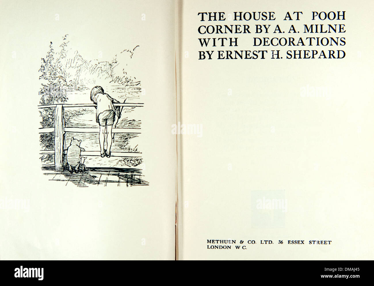 The House at Pooh Corner Old Book Illustration Historical Archival Document - Stock Image