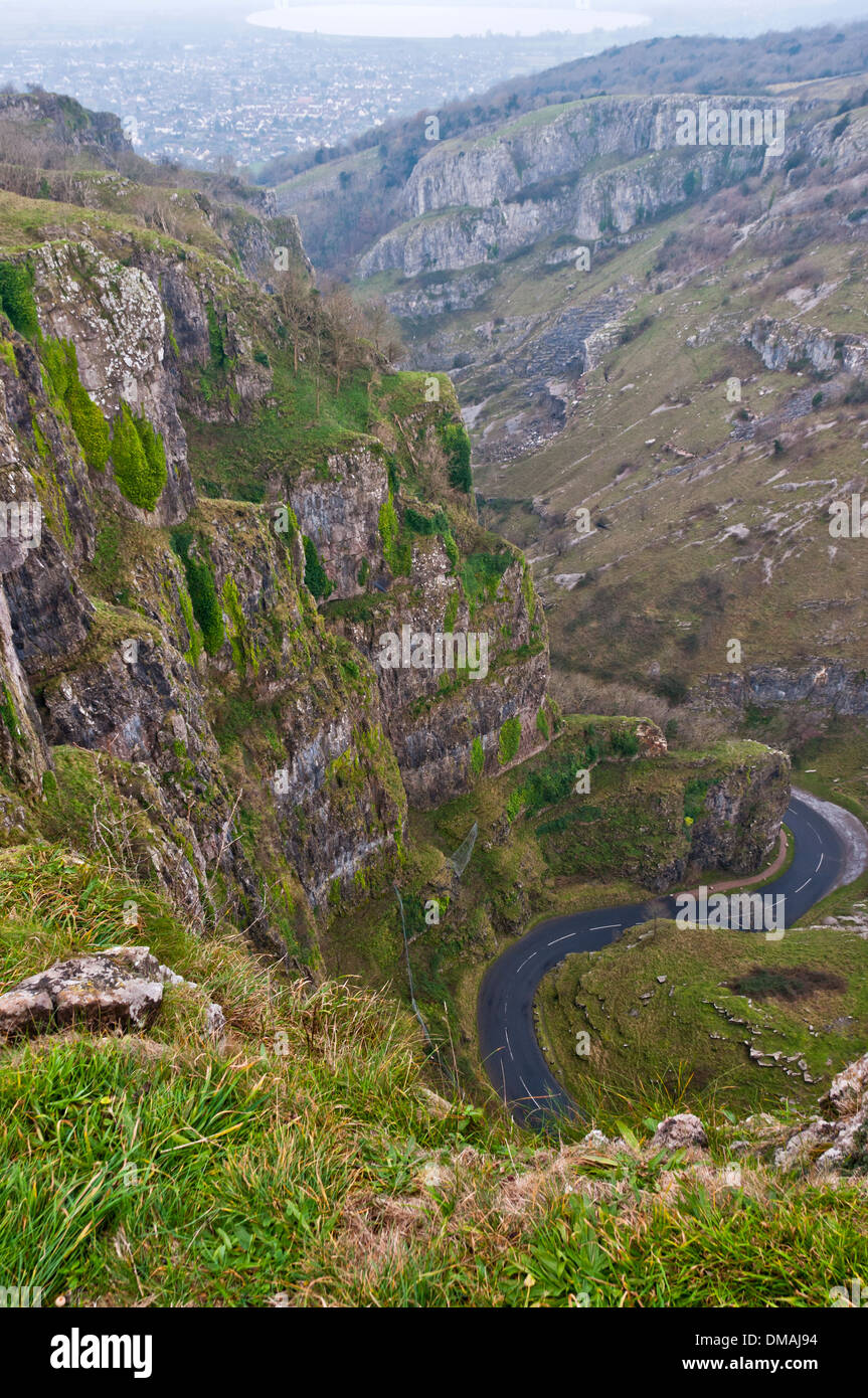 View from Cheddar Gorge, Somerset, down to the road - Stock Image