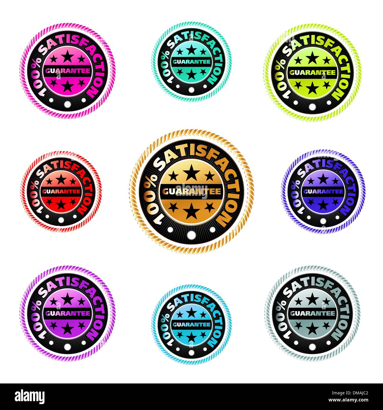 Set of Satisfaction guarantee labels. EPS 8 - Stock Image