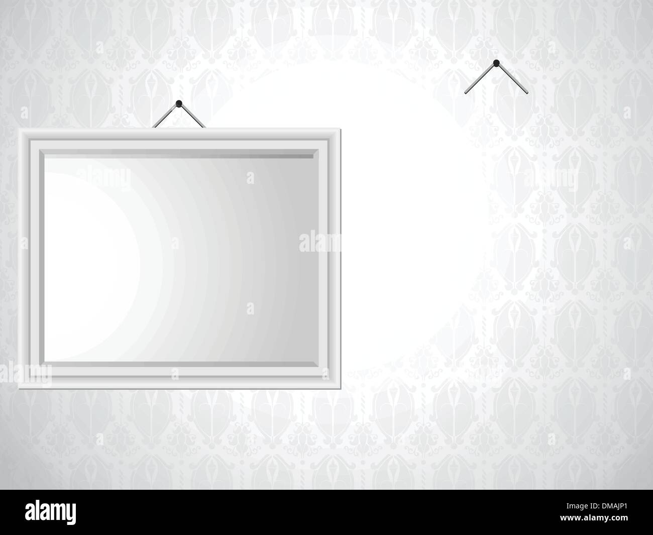 White Picture Frames on Wallpaper Background - Stock Vector