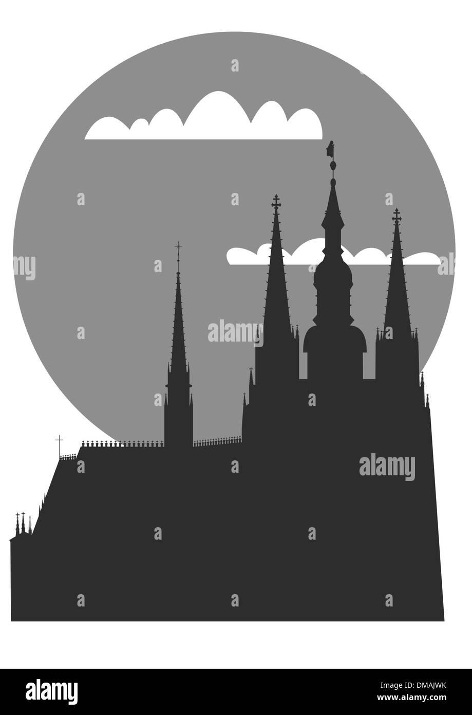Prague - famous landmark - vector - Stock Vector